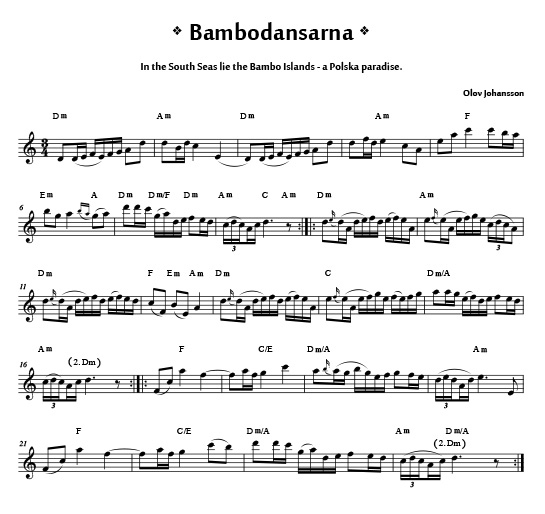 bambodansarna from Väsen Tune Book 2